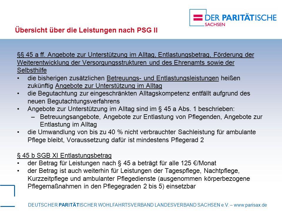 DEUTSCHER PARITÄTISCHER WOHLFAHRTSVERBAND LANDESVERBAND SACHSEN e.V. – www.parisax.de Übersicht über die Leistungen nach PSG II §§ 45 a ff. Angebote z