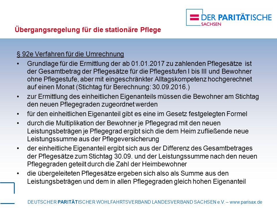 DEUTSCHER PARITÄTISCHER WOHLFAHRTSVERBAND LANDESVERBAND SACHSEN e.V. – www.parisax.de Übergangsregelung für die stationäre Pflege § 92e Verfahren für