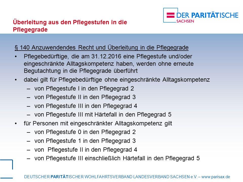 DEUTSCHER PARITÄTISCHER WOHLFAHRTSVERBAND LANDESVERBAND SACHSEN e.V. – www.parisax.de Überleitung aus den Pflegestufen in die Pflegegrade § 140 Anzuwe