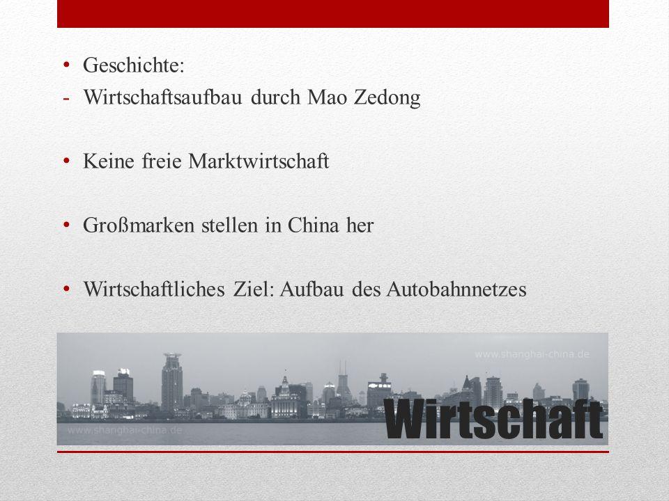 Wirtschaftliche Lage BIP 2013 : 9 Billionen ( 22 000 x BIP Österreich ) Einkommen: 1/8 eines Österreichers Arbeitslosigkeit 2013 : 4.1% Export immer > als Import