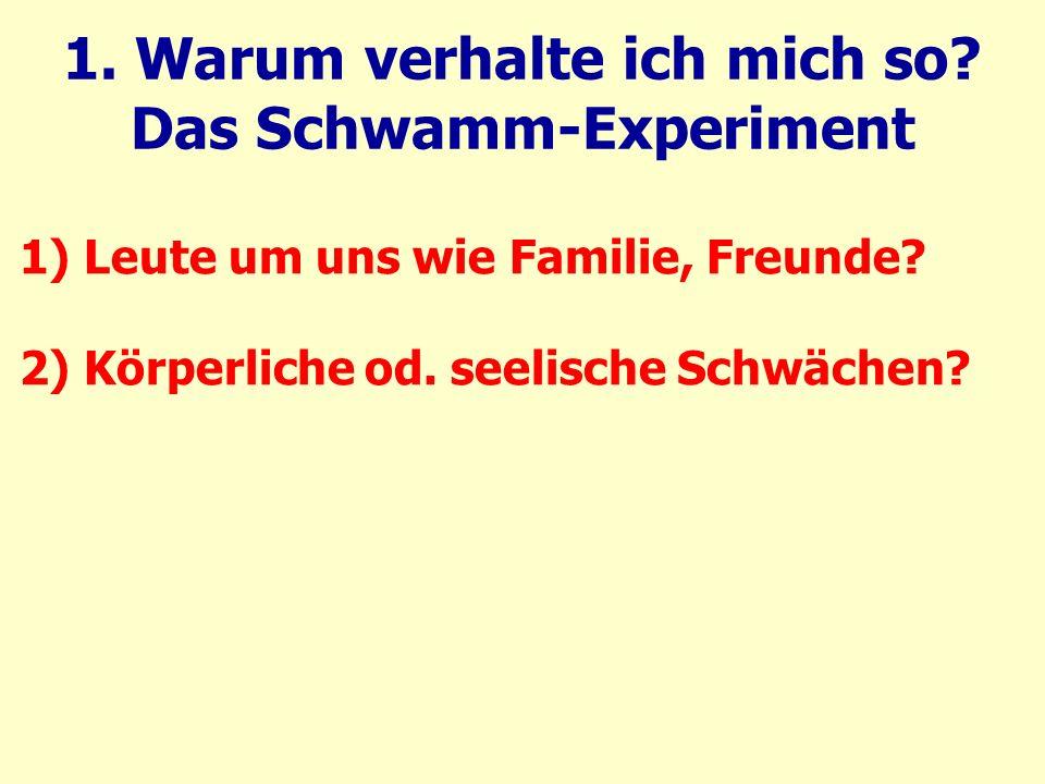 1. Warum verhalte ich mich so. Das Schwamm-Experiment 1) Leute um uns wie Familie, Freunde.