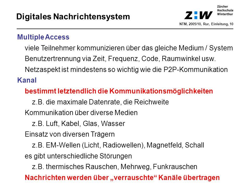 Digitales Nachrichtensystem NTM, 2005/10, Rur, Einleitung, 10 Multiple Access viele Teilnehmer kommunizieren über das gleiche Medium / System Benutzertrennung via Zeit, Frequenz, Code, Raumwinkel usw.