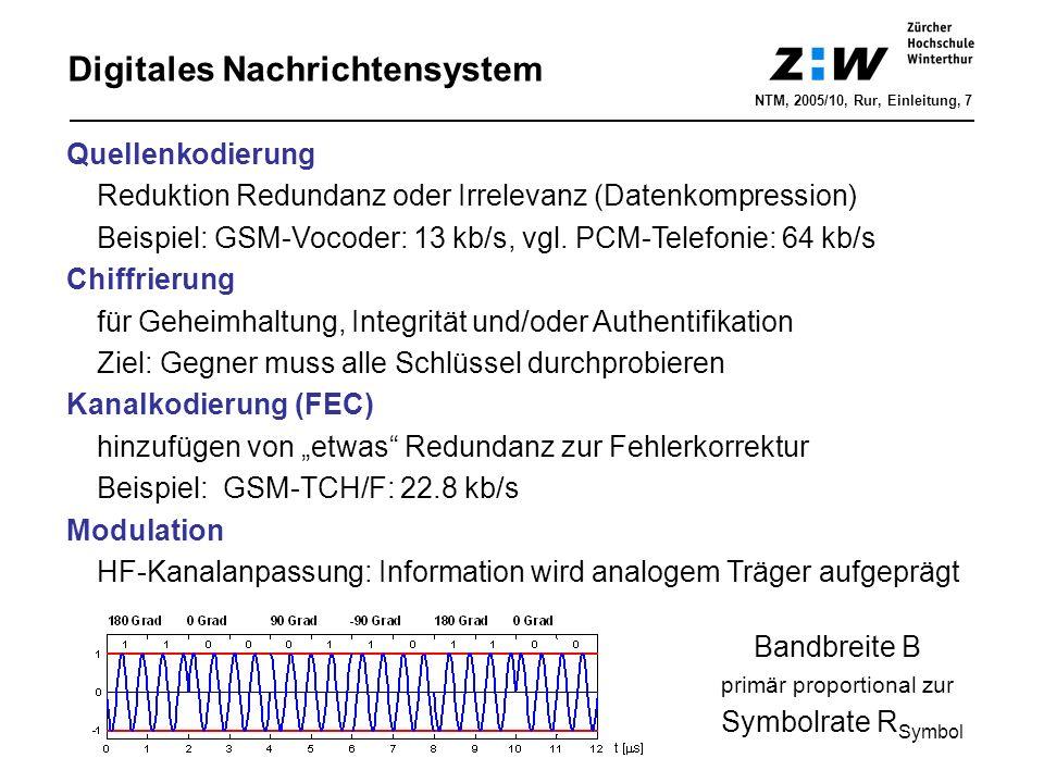 Digitales Nachrichtensystem NTM, 2005/10, Rur, Einleitung, 7 Quellenkodierung Reduktion Redundanz oder Irrelevanz (Datenkompression) Beispiel: GSM-Vocoder: 13 kb/s, vgl.