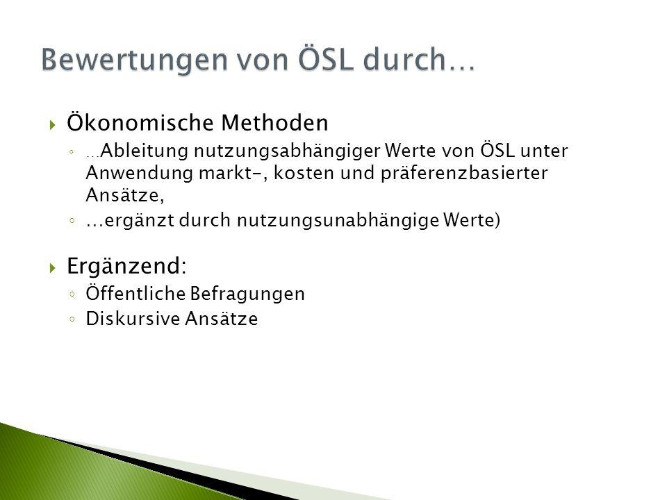  Ökonomische Methoden ◦ … Ableitung nutzungsabhängiger Werte von ÖSL unter Anwendung markt-, kosten und präferenzbasierter Ansätze, ◦ …ergänzt durch