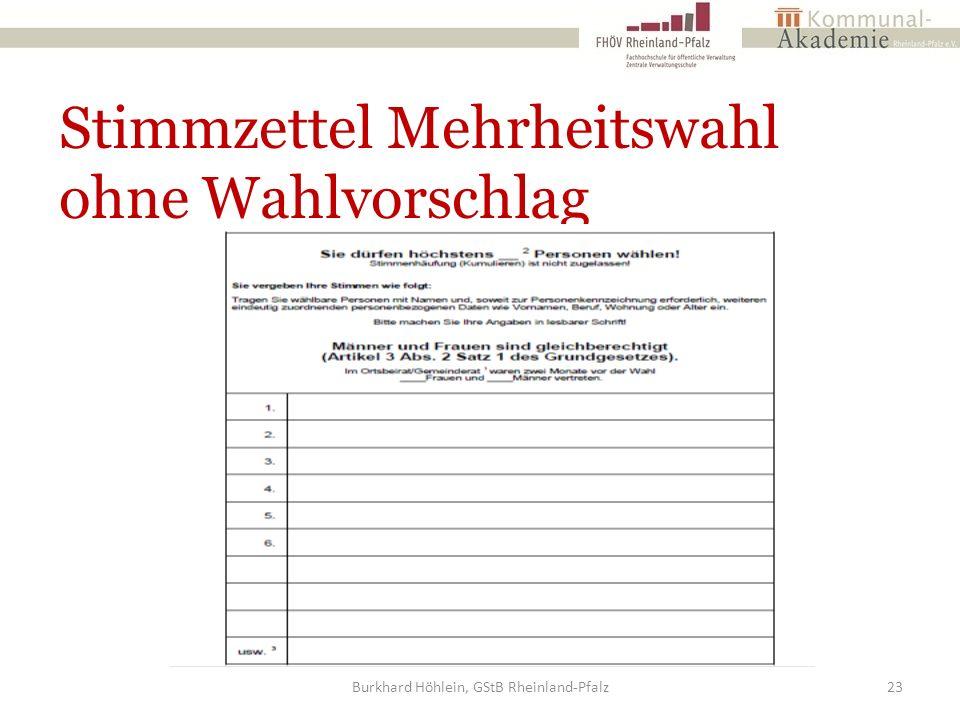 Stimmzettel Mehrheitswahl ohne Wahlvorschlag Burkhard Höhlein, GStB Rheinland-Pfalz23