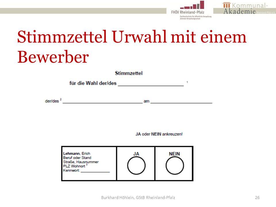 Stimmzettel Urwahl mit einem Bewerber Burkhard Höhlein, GStB Rheinland-Pfalz26