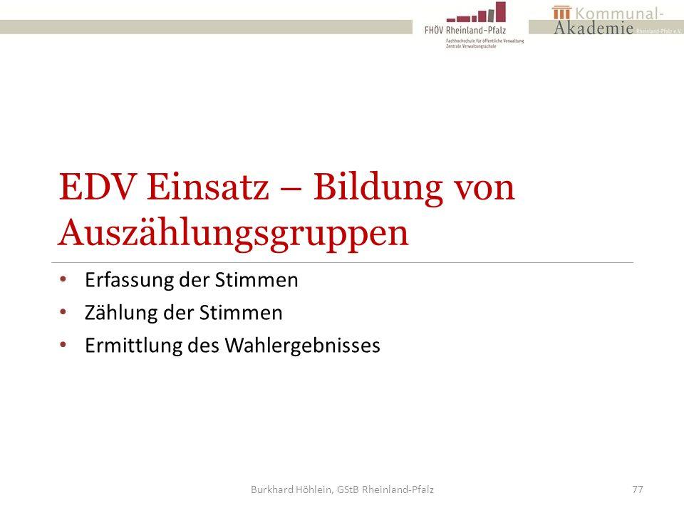 EDV Einsatz – Bildung von Auszählungsgruppen Erfassung der Stimmen Zählung der Stimmen Ermittlung des Wahlergebnisses Burkhard Höhlein, GStB Rheinland