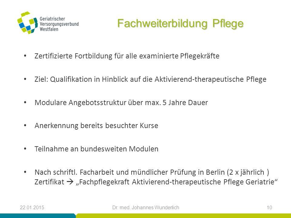 Fachweiterbildung Pflege Zertifizierte Fortbildung für alle examinierte Pflegekräfte Ziel: Qualifikation in Hinblick auf die Aktivierend-therapeutisch