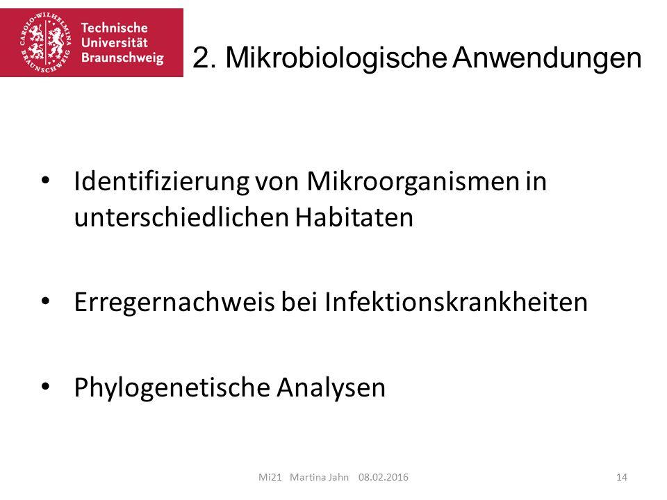 2. Mikrobiologische Anwendungen Mi21 Martina Jahn 08.02.201614 Identifizierung von Mikroorganismen in unterschiedlichen Habitaten Erregernachweis bei