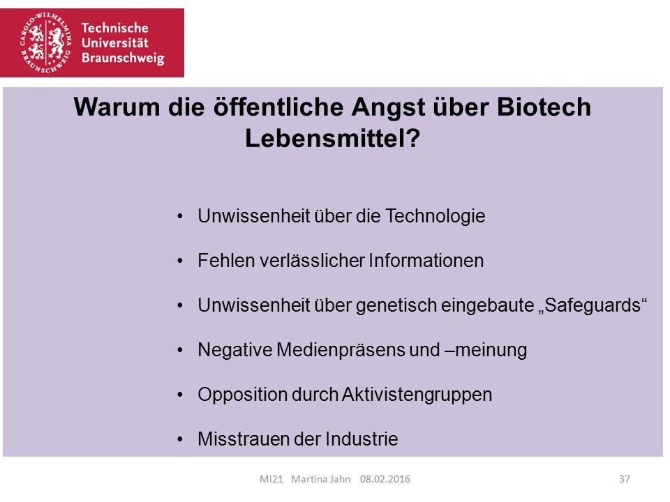 Mi21 Martina Jahn 08.02.201637 Warum die öffentliche Angst über Biotech Lebensmittel.
