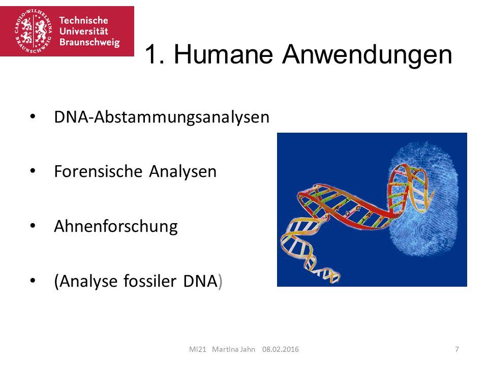1. Humane Anwendungen Mi21 Martina Jahn 08.02.20167 DNA-Abstammungsanalysen Forensische Analysen Ahnenforschung (Analyse fossiler DNA)