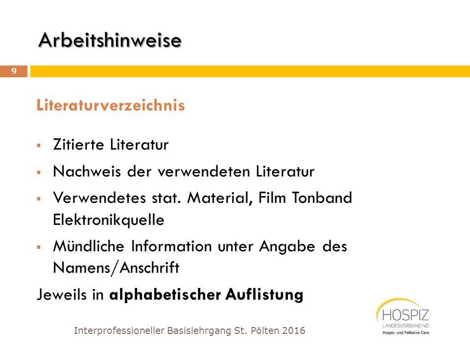 Angaben im Literaturverzeichnis Interprofessioneller Basislehrgang St.