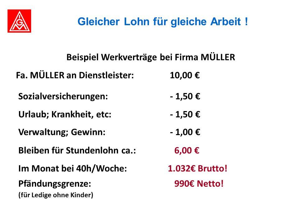 Beispiel Werkverträge bei Firma MÜLLER Fa.