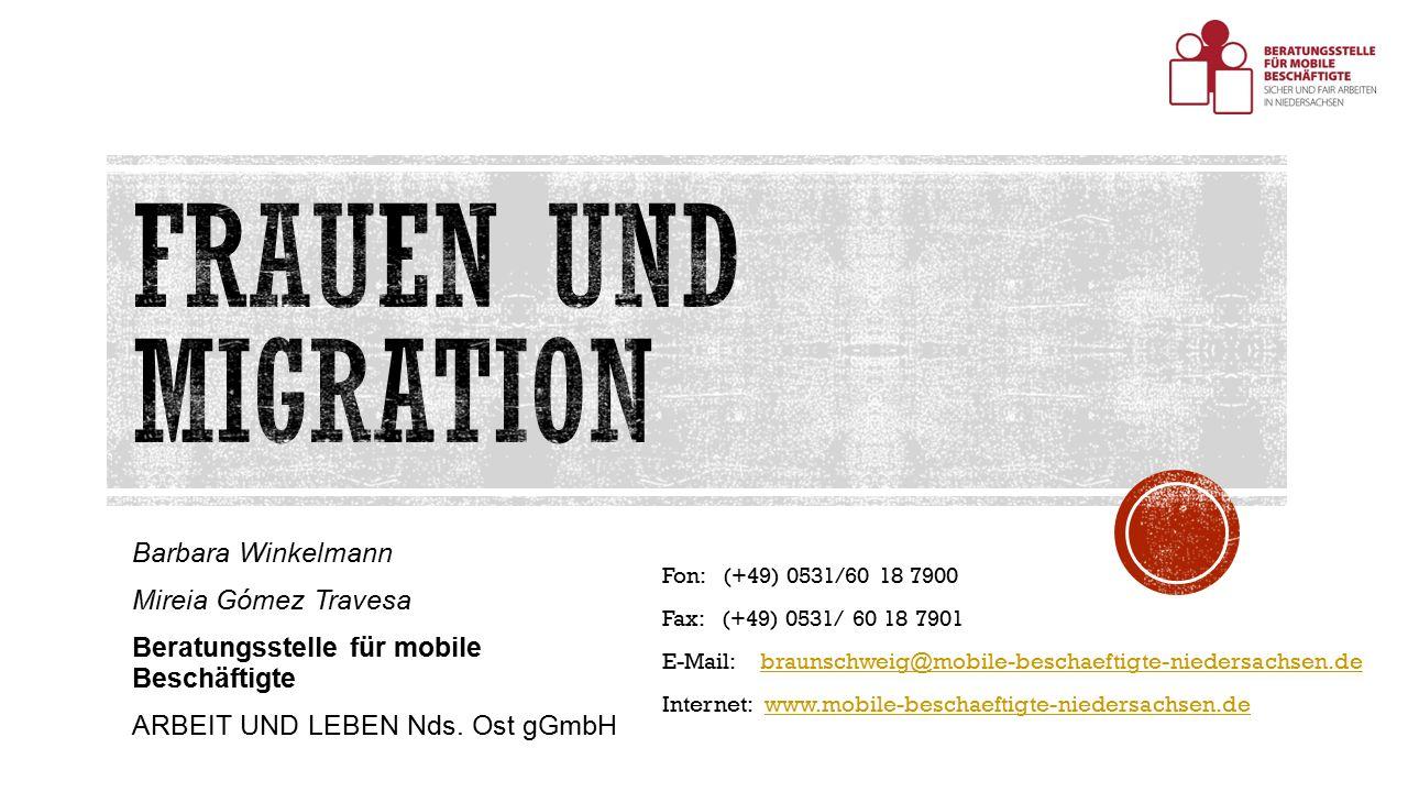 Barbara Winkelmann Mireia Gómez Travesa Beratungsstelle für mobile Beschäftigte ARBEIT UND LEBEN Nds.
