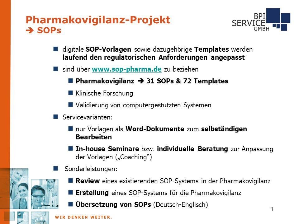 Pharmakovigilanz-Projekt  SOPs 1 digitale SOP-Vorlagen sowie dazugehörige Templates werden laufend den regulatorischen Anforderungen angepasst sind ü
