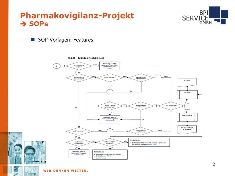 2 Pharmakovigilanz-Projekt  SOPs SOP-Vorlagen: Features