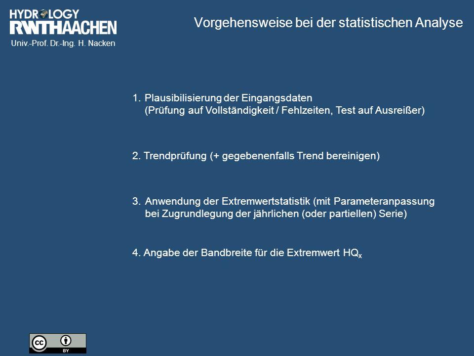 Univ.-Prof. Dr.-Ing. H. Nacken 2. Trendprüfung (+ gegebenenfalls Trend bereinigen) 4.