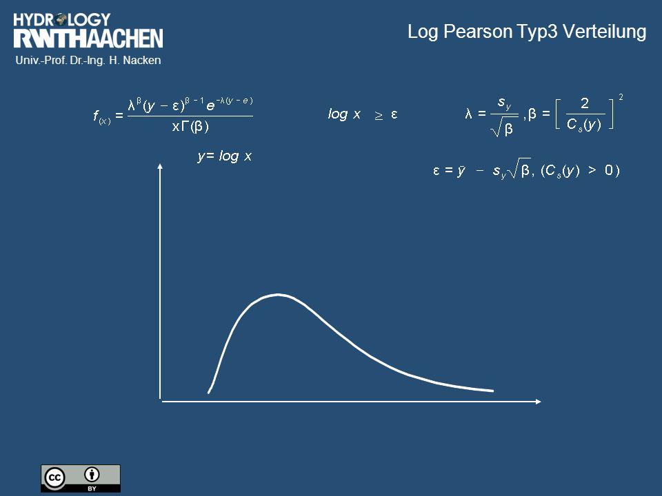 Univ.-Prof. Dr.-Ing. H. Nacken Log Pearson Typ3 Verteilung