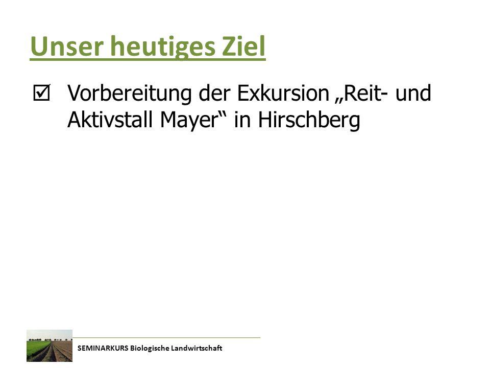 """Unser heutiges Ziel  Vorbereitung der Exkursion """"Reit- und Aktivstall Mayer in Hirschberg"""
