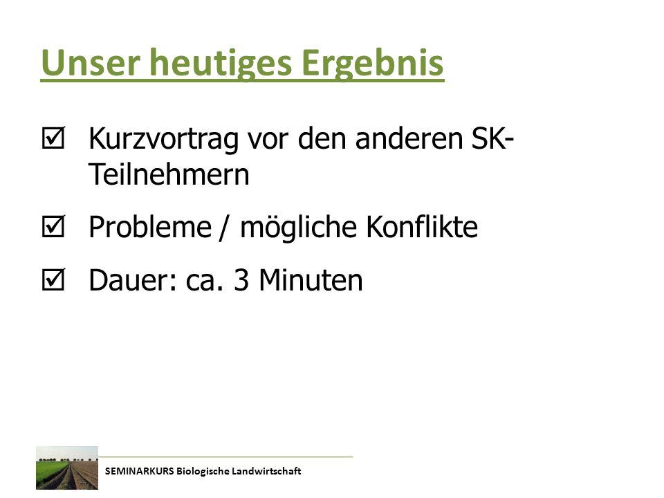 SEMINARKURS Biologische Landwirtschaft Unser heutiges Ergebnis  Kurzvortrag vor den anderen SK- Teilnehmern  Probleme / mögliche Konflikte  Dauer: ca.