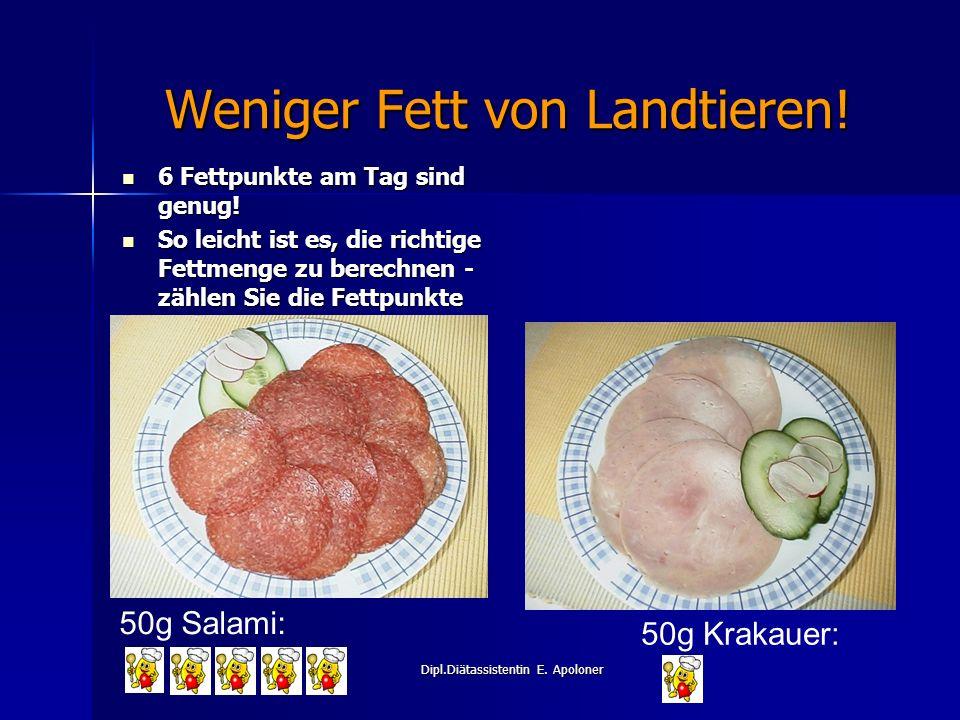 Dipl.Diätassistentin E.Apoloner Weniger Fett von Landtieren.