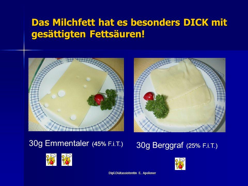 Dipl.Diätassistentin E. Apoloner Das Milchfett hat es besonders DICK mit gesättigten Fettsäuren.