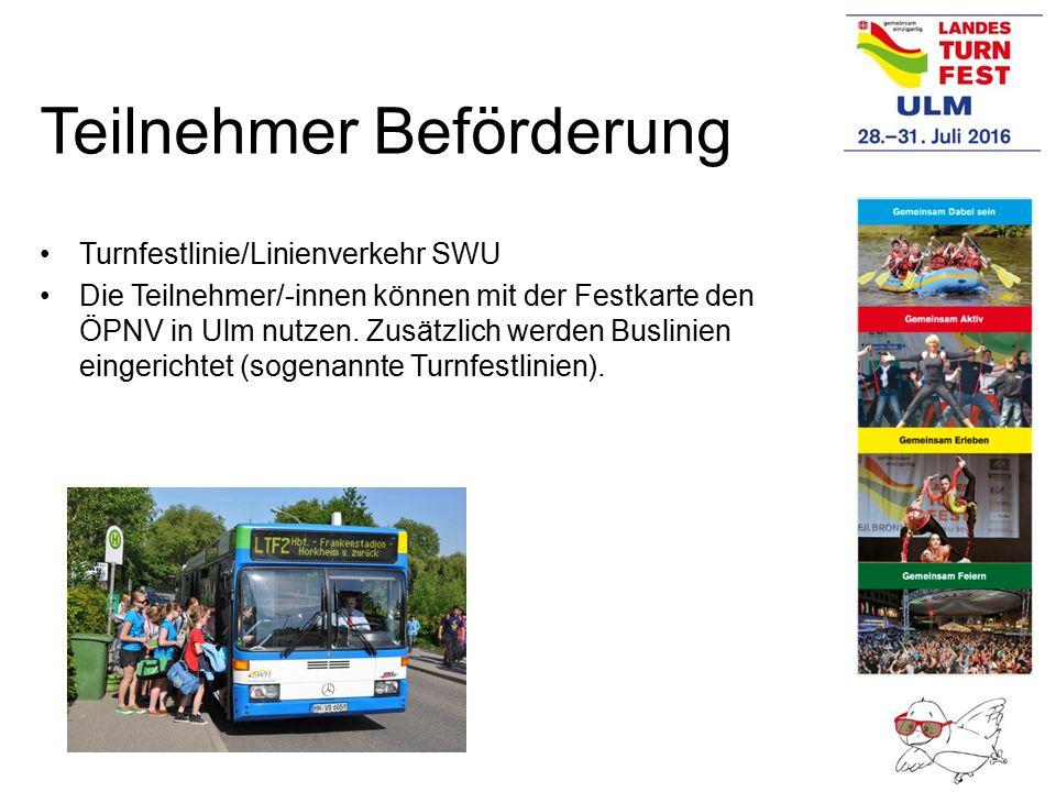 Teilnehmer Beförderung Turnfestlinie/Linienverkehr SWU Die Teilnehmer/-innen können mit der Festkarte den ÖPNV in Ulm nutzen. Zusätzlich werden Buslin