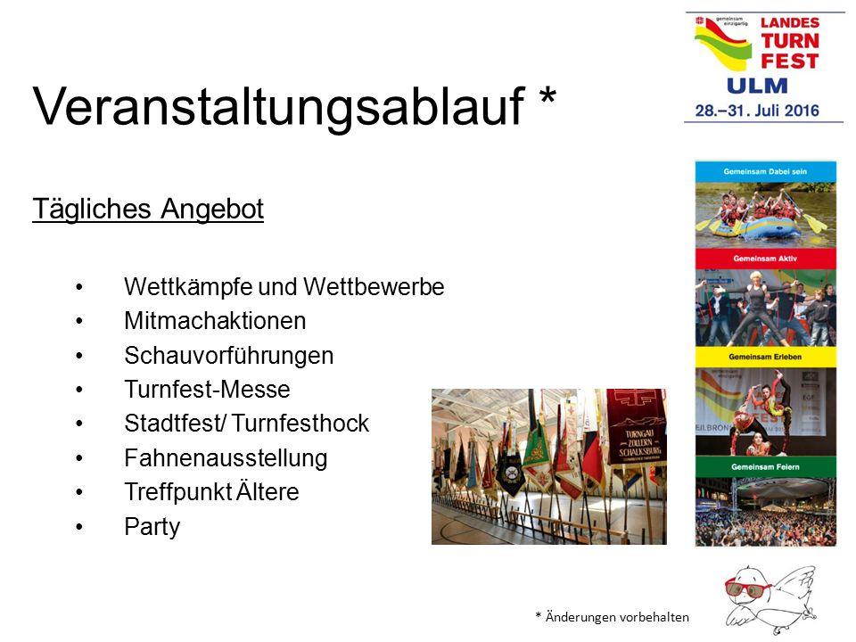 Veranstaltungsablauf * Tägliches Angebot Wettkämpfe und Wettbewerbe Mitmachaktionen Schauvorführungen Turnfest-Messe Stadtfest/ Turnfesthock Fahnenaus