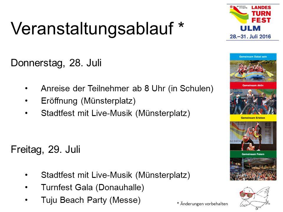 Veranstaltungsablauf * Donnerstag, 28. Juli Anreise der Teilnehmer ab 8 Uhr (in Schulen) Eröffnung (Münsterplatz) Stadtfest mit Live-Musik (Münsterpla
