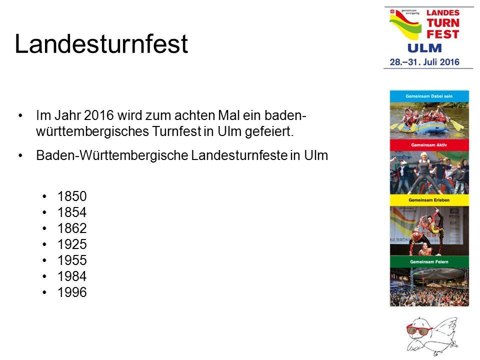 Landesturnfest Im Jahr 2016 wird zum achten Mal ein baden- württembergisches Turnfest in Ulm gefeiert. Baden-Württembergische Landesturnfeste in Ulm 1