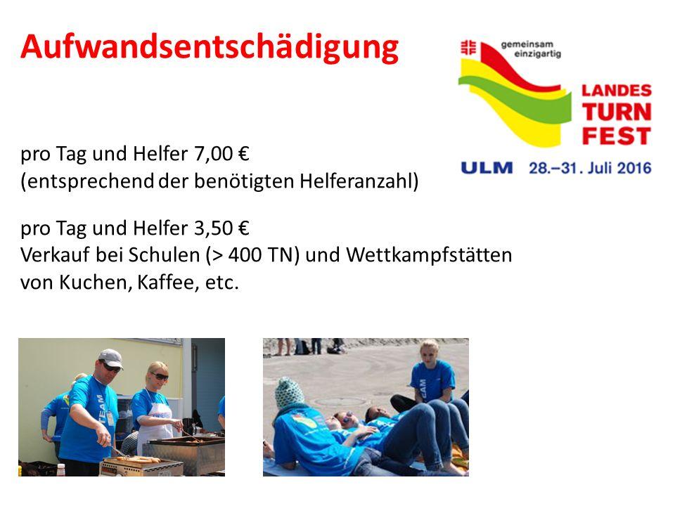 Aufwandsentschädigung pro Tag und Helfer 7,00 € (entsprechend der benötigten Helferanzahl) pro Tag und Helfer 3,50 € Verkauf bei Schulen (> 400 TN) un