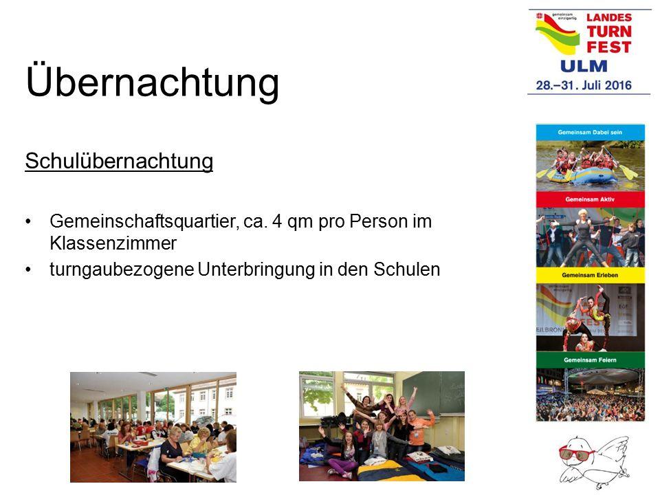 Schulübernachtung Gemeinschaftsquartier, ca. 4 qm pro Person im Klassenzimmer turngaubezogene Unterbringung in den Schulen Übernachtung