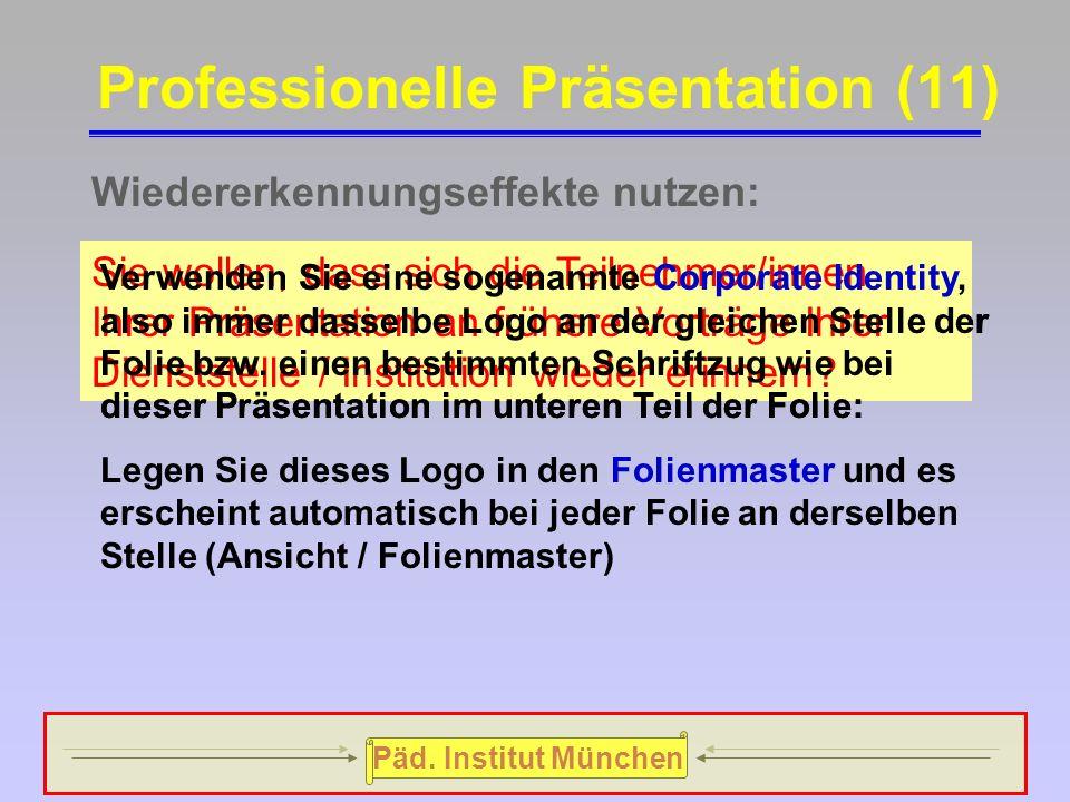 """Päd. Institut München  Ihre """"multimediale"""" Präsentation strotzte nur so von Animationseffekten und animierten Folienübergängen, der eigentliche Inhal"""