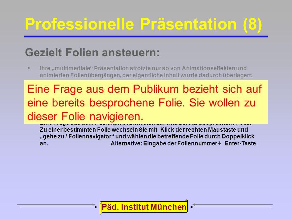 """Päd. Institut München Ausblenden der Präsentation:  Ihre """"multimediale"""" Präsentation strotzte nur so von Animationseffekten und animierten Folienüber"""