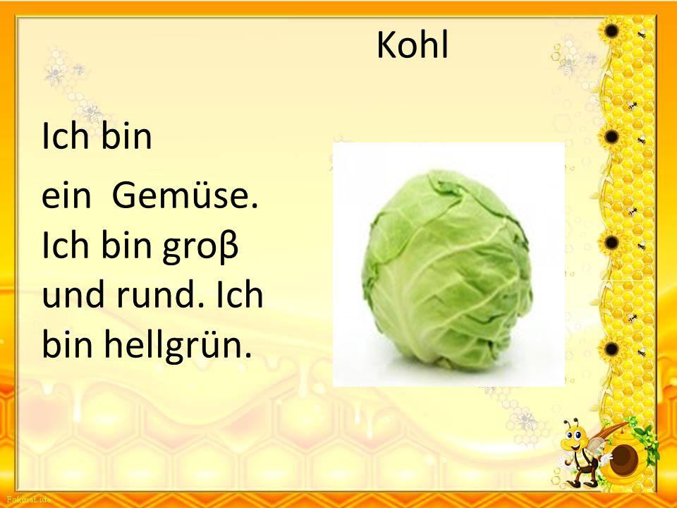 Kohl Ich bin ein Gemüse. Ich bin groβ und rund. Ich bin hellgrün.