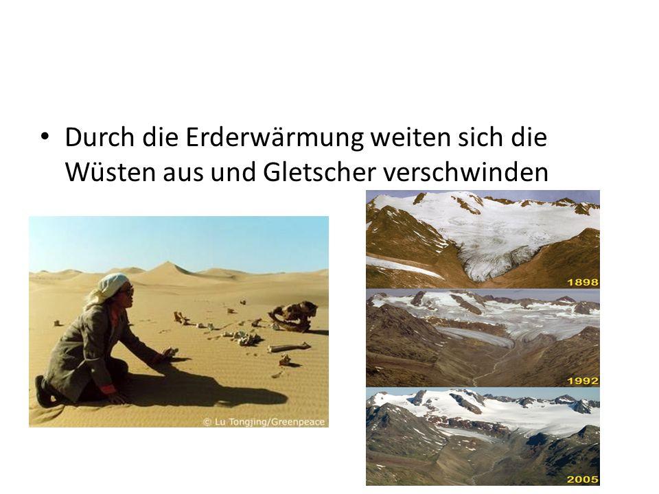 Durch die Erderwärmung weiten sich die Wüsten aus und Gletscher verschwinden