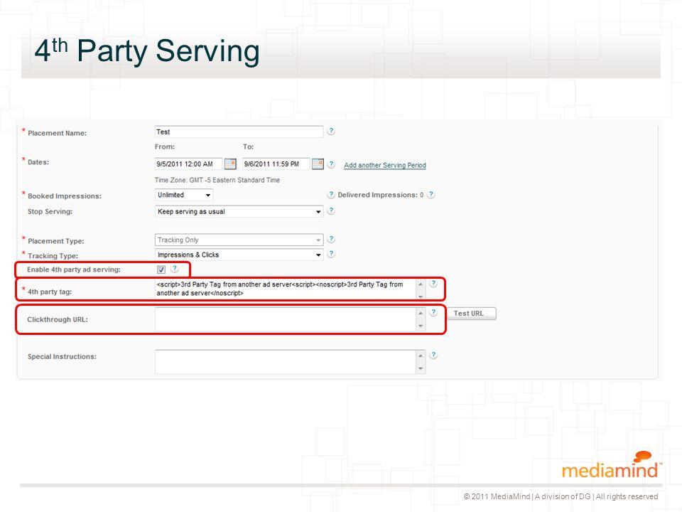 © 2011 MediaMind | A division of DG | All rights reserved 4 th Party Serving ▸ 4th Party Serving ist im Excel Trafficking verfügbar ▸ Neue Überschrift beim Export, die nicht per Default selektiert ist