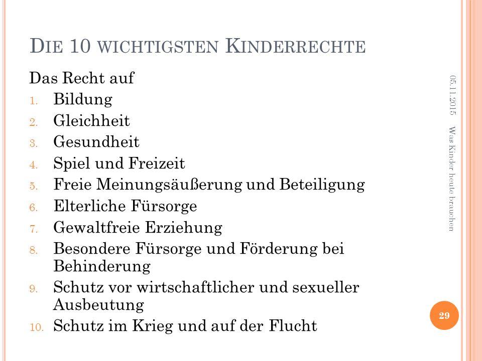 D IE 10 WICHTIGSTEN K INDERRECHTE 05.11.2015 29 Was Kinder heute brauchen Das Recht auf 1.