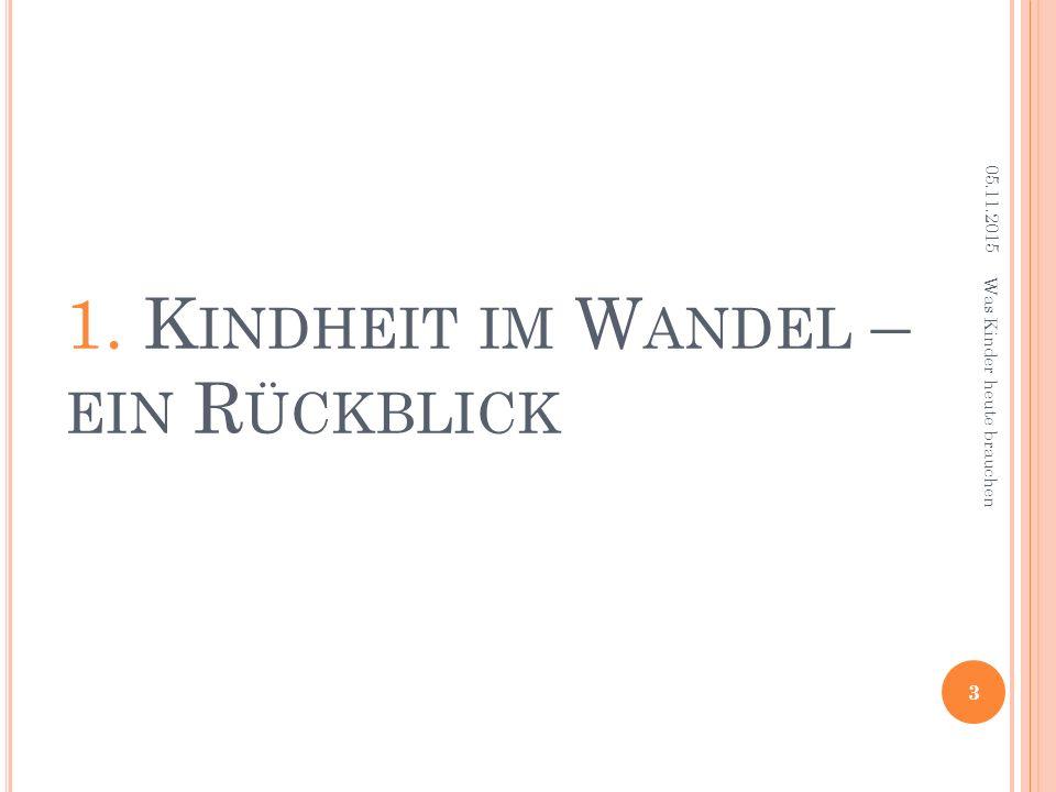 1. K INDHEIT IM W ANDEL – EIN R ÜCKBLICK 05.11.2015 3 Was Kinder heute brauchen