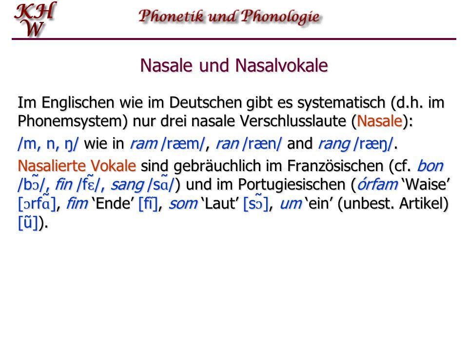 Nasale und Nasalvokale Im Englischen wie im Deutschen gibt es systematisch (d.h.