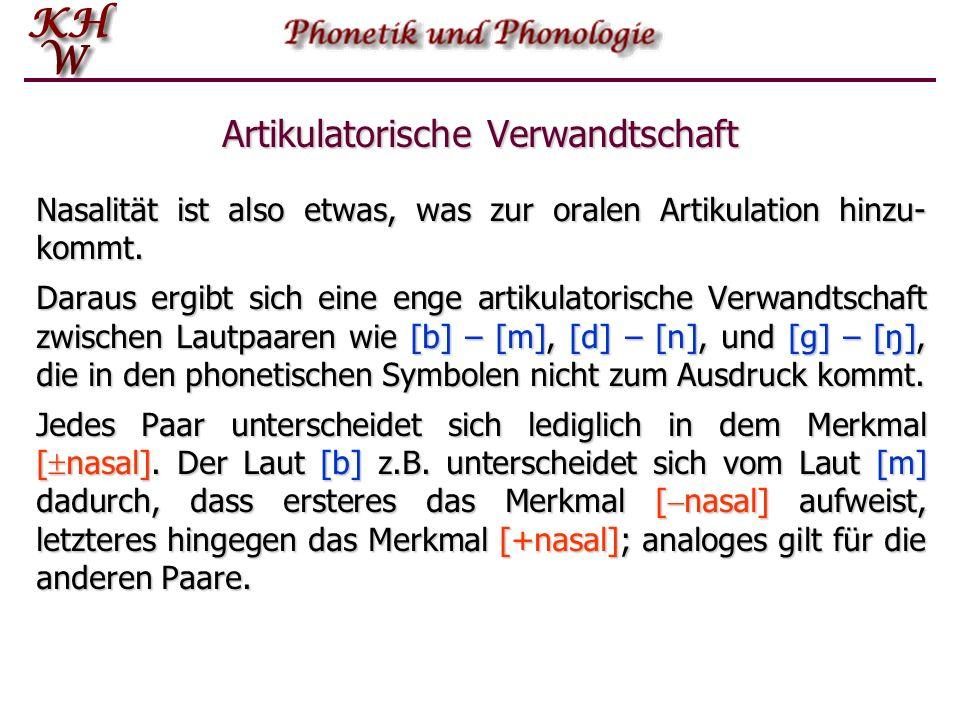 Artikulatorische Verwandtschaft Nasalität ist also etwas, was zur oralen Artikulation hinzu- kommt.