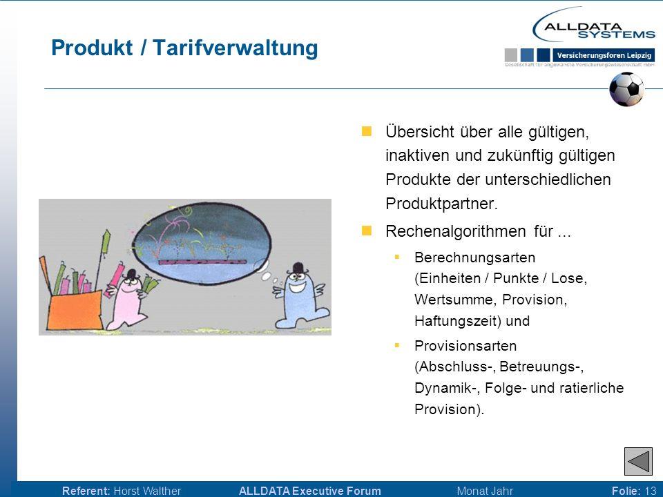 ALLDATA Executive Forum Monat JahrReferent: Horst WaltherFolie: 12 Produktpartnerverwaltung Verwaltung von Produktpartnern mit denen Vertragsverein- barungen bestehen und Partnern, mit denen eine Kooperation bestand oder angedacht ist.