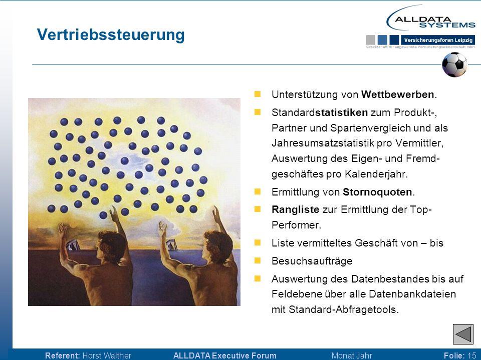 ALLDATA Executive Forum Monat JahrReferent: Horst WaltherFolie: 14 Antragsverwaltung Antragserfassung mit Zugriff auf die Kunden-, Mitarbeiter-, Produktpartner- und Produktdatenbank.
