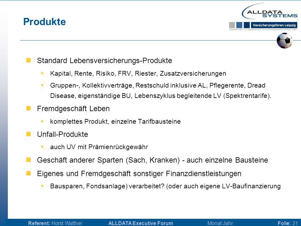 ALLDATA Executive Forum Monat JahrReferent: Horst WaltherFolie: 20 Anforderungen - detailliert Produkte Bemessungsgrundlagen Provisionsarten & Provisi