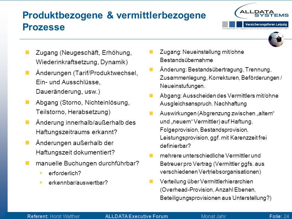 ALLDATA Executive Forum Monat JahrReferent: Horst WaltherFolie: 23 Provisionsarten & Provisionszahlung Abschluss, Folgeprovision, Inkassoprovision Bür