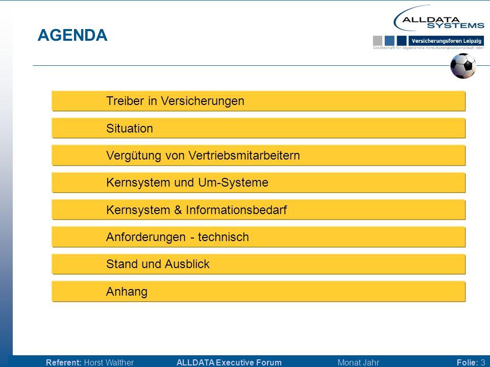 ALLDATA Executive Forum Monat JahrReferent: Horst WaltherFolie: 3 AGENDA Treiber in Versicherungen Situation Vergütung von Vertriebsmitarbeitern Kernsystem und Um-Systeme Kernsystem & Informationsbedarf Anforderungen - technisch Stand und Ausblick Anhang