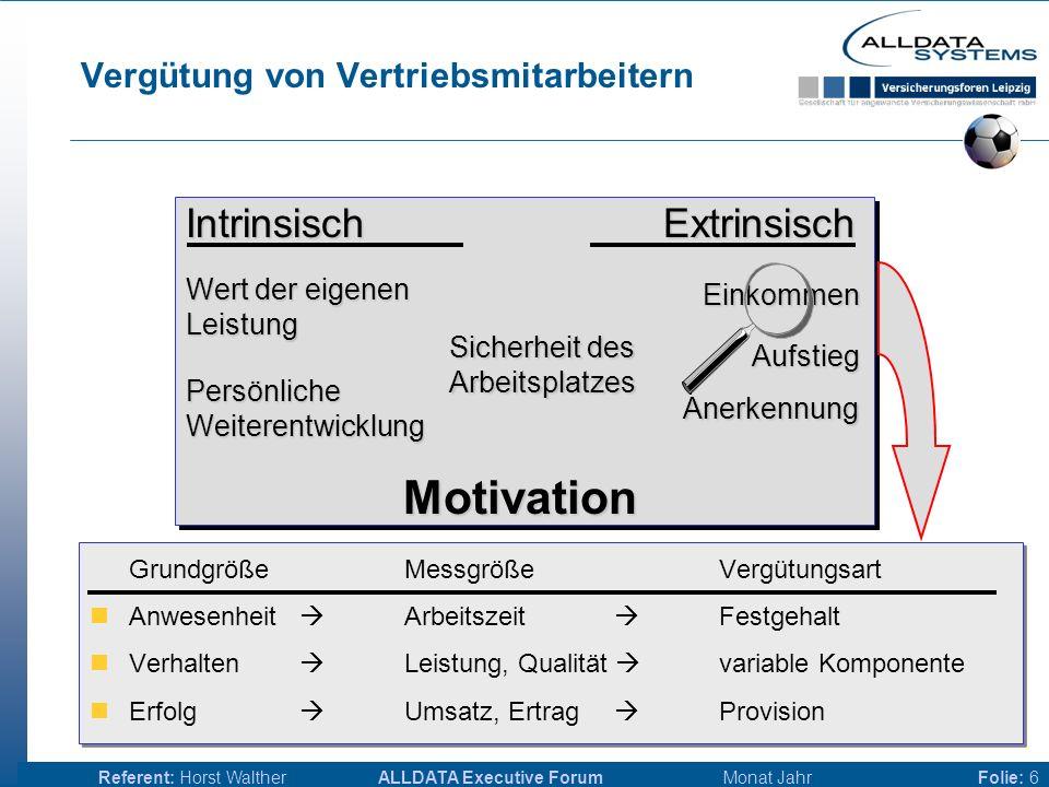 ALLDATA Executive Forum Monat JahrReferent: Horst WaltherFolie: 16 Anforderungen - technisch Regelsysteme  Provisionsregeln nicht mehr hart kodiert  Trend zu kommerziellen Systemen Datenmodel, wo liegen die Provisionsregeln.