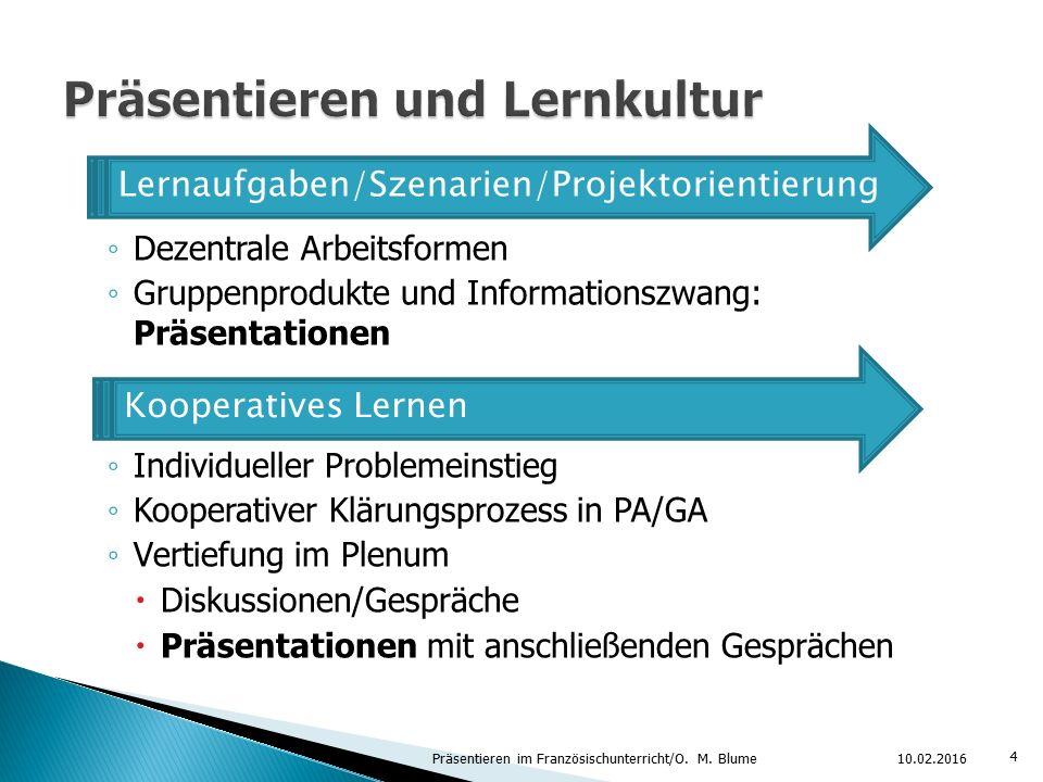 ◦ Dezentrale Arbeitsformen ◦ Gruppenprodukte und Informationszwang: Präsentationen ◦ Individueller Problemeinstieg ◦ Kooperativer Klärungsprozess in P