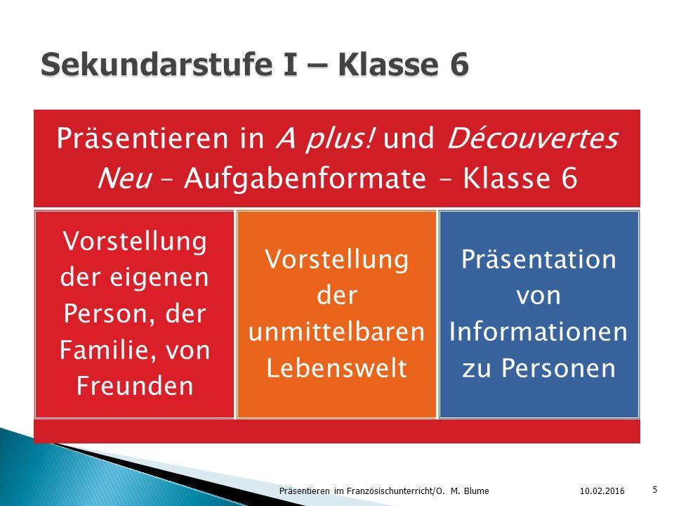 Präsentieren in A plus! und Découvertes Neu – Aufgabenformate – Klasse 6 Vorstellung der eigenen Person, der Familie, von Freunden Vorstellung der unm