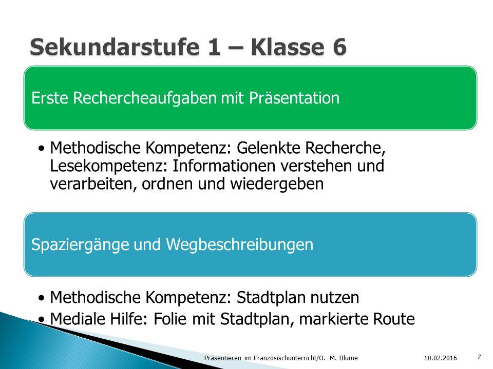 Erste Rechercheaufgaben mit Präsentation Methodische Kompetenz: Gelenkte Recherche, Lesekompetenz: Informationen verstehen und verarbeiten, ordnen und